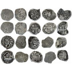 Lot of ten Lima, Peru, cob 1/2R, Charles II and Philip V, various dates.