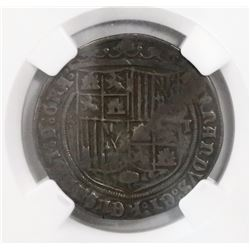 Toledo, Spain, 1 real, Ferdinand-Isabel, five dots in cruciform to left, mintmark T to right, encaps