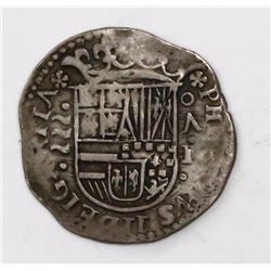 Valladolid, Spain, cob 1 real, Philip II, assayer oA above denomination I to right, mintmark to left