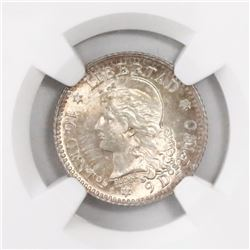 Argentina, 10 centavos, 1882, 2 in normal position, encapsulated NGC MS 64+.