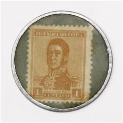 Buenos Aires, Argentina, aluminum 1 centavo token, Pharmacy Franco-Inglesa, containing 1c postage st