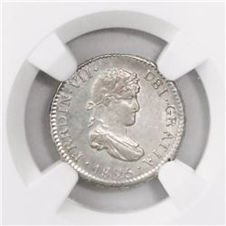 Potosi, Bolivia, bust 1/2 real, Ferdinand VII, 1825JL, final date of colonial issues, MS 64
