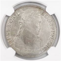 Potosi, Bolivia, 8 soles, 1834LM, encapsulated NGC UNC Details / surface hairlines.