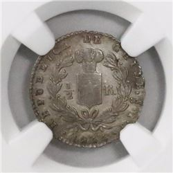 Santiago, Chile, 1/2 real, 1844IJ, encapsulated NGC MS 62.