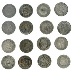Study collection of eight Colombian 1 decimos including mints of Bogota, Medellin and Popayan and da