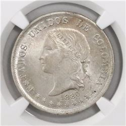 Bogota, Colombia, 50 centavos, 1880, encapsulated NGC MS 64, finest known in NGC census.