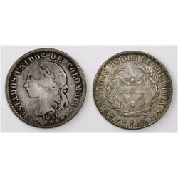 Lot of two Colombian 2 decimos: Bogota 1866 and Medellin 1871.