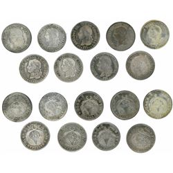 Lot of nine Colombian 20 centavos Medellin 1876 (several different varieties).