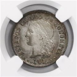 Medellin, Colombia, 20 centavos, 1877, encapsulated NGC XF 45.