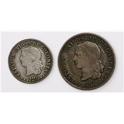 Lot of two Medellin, Colombia, minors: 20 centavos 1884 and 10 centavos 1885, both 0.835 fine.