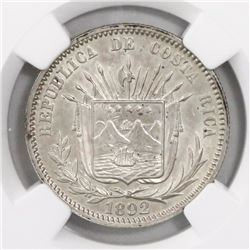 Costa Rica, 25 centavos, 1892, HEATON-BIRMm, encapsulated NGC MS 63, ex-Richard Stuart (designated o