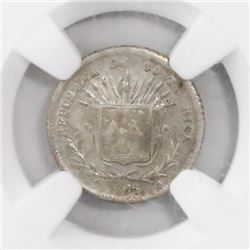 Costa Rica, 5 centavos, 1865GW, encapsulated AU details / surface hairlines.