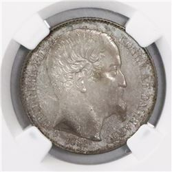 Danish West Indies, 20 cents, Frederik VII, 1859, encapsulated NGC MS 62.