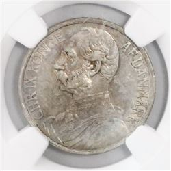 Danish West Indies, 20 cents, Christian IX, 1905, encapsulated NGC AU details / surface hairlines.