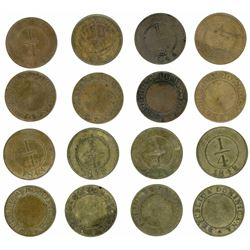 Lot of eight Dominican Republic, bronze 1/4R, 1844 and 1848.