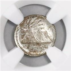 Guatemala, Central American Republic, 1/4 real, 1846, coin alignment, encapsulated NGC MS 63, ex-Ric