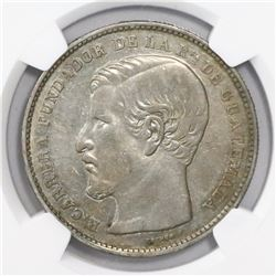 Guatemala, 1 peso, 1868R, encapsulated NGC AU 55, finest and only specimen in NGC census, ex-Richard