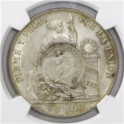 "Guatemala, 1 peso, ""1/2 real"" counterstamp of 1894 on a Lima, Peru, 1 sol, 1884RD, encapsulated NGC"
