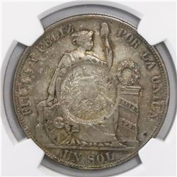 "Guatemala, 1 peso, ""1/2 real"" counterstamp of 1894 on a Lima, Peru, 1 sol, 1885TD, encapsulated NGC"