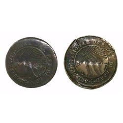 Lot of two Tegucigalpa, Honduras, low-silver 4 reales (provisional): 1853/46G and 1854/1G.