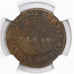 "Tegucigalpa, Honduras, low-silver 4 reales (provisional), 1855, ""HOND"" variety, encapsulated NGC VF"