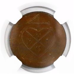 Bombay Presidency, India (British), copper proof 1/2 pice, 1791, encapsulated NGC PF 64 BN.
