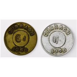 Lot of two Curragh, Ireland, uniface tokens (brass sixpence and aluminum shilling), 1940, for WWII i