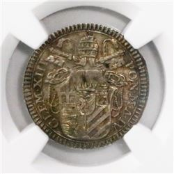 Papal States (Italian States), grosso, Clement XIII, 1762, ano IV, encapsulated NGC MS 63, finest kn