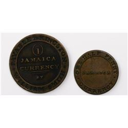 Lot of two Kingston, Jamaica, copper tokens (penny and half penny), William Smith, 1829 and ca. 1830