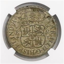 Mexico City, Mexico, pillar 2 reales, Charles III, 1763M, encapsulated NGC AU 58.