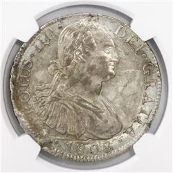 Mexico City, Mexico, bust 8 reales, Charles IV, 1808TH, encapsulated NGC AU 58.