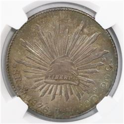 Mexico City, Mexico, cap-and-rays 8 reales, 1876BH, encapsulated NGC MS 63.