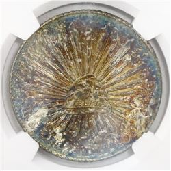 Mexico City, Mexico, cap-and-rays 8 reales, 1887MH, encapsulated NGC MS 61.