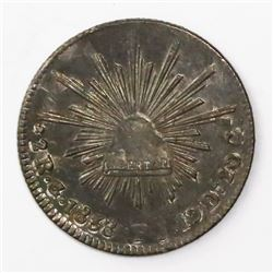 Guanajuato, Mexico, cap-and-rays 2 reales, 1838PJ.