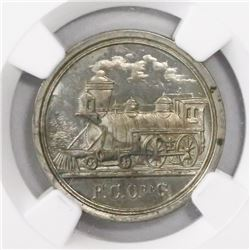 San Felipe, Mexico, silver railroad token, 1892, encapsulated NGC MS 64, finest and only specimen in