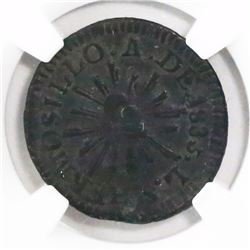 Hermosillo (Sonora State), Mexico, copper 1/4 real 1835/3LS, encapsulated NGC VF 35 BN, finest and o