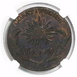 Durango (State), Mexico, copper 1/4 real, 1858. radiant cap, encapsulated NGC XF 40 BN, finest known