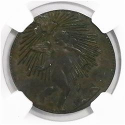 Zacatecas (State), Mexico, brass 1/4 real, 1862, encapsulated NGC AU 58.