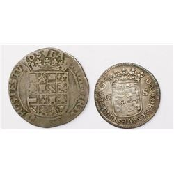 Lot of two Netherlands minors: Brabant (Antwerp mint), 4 patards (4 stuivers), 1552; and Westfriesla