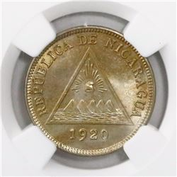 Nicaragua, copper-nickel 5 centavos, 1920, encapsulated NGC MS 63, finest known in NGC census, ex-Ri
