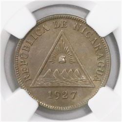 Nicaragua, copper-nickel 5 centavos, 1927, encapsulated NGC MS 62, finest and only specimen in NGC c