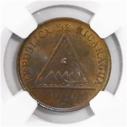 Nicaragua (Heaton mint), bronze 1 centavo, 1916-H, encapsulated NGC MS 64 BN, finest and only specim