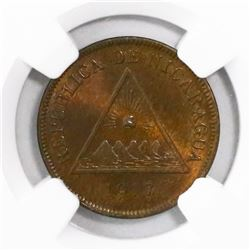 Nicaragua, bronze 1 centavo, 1917, encapsulated NGC MS 65 BN, finest known in NGC census, ex-Richard