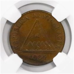 Nicaragua, bronze 1 centavo, 1934, encapsulated NGC AU 58 BN, finest and only specimen in NGC census
