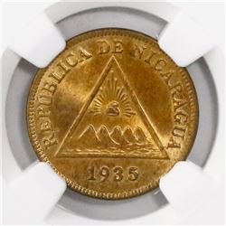 Nicaragua, bronze 1 centavo, 1935, encapsulated NGC MS 64 RB, finest known in NGC census, ex-Richard