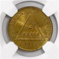 Nicaragua, bronze 1 centavo, 1938, encapsulated NGC MS 64 RB, finest known in NGC census, ex-Richard