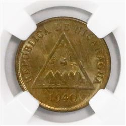 Nicaragua, copper 1 centavo, 1940, encapsulated NGC MS 66 BN, finest known in NGC census.