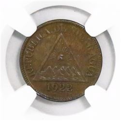 Nicaragua (Philadelphia mint), bronze 1/2 centavo, 1922, encapsulated NGC AU 58 BN, finest and only