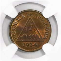 Nicaragua (Philadelphia mint), bronze 1/2 centavo, 1934, encapsulated NGC MS 65 BN, finest and only