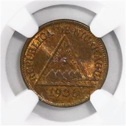 Nicaragua (Philadelphia mint), bronze 1/2 centavo, 1936, encapsulated NGC MS 65 RB, finest known in
